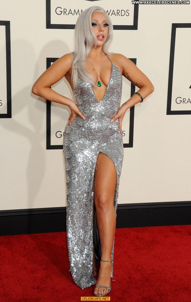 Lady Gaga Grammy Awards Posing Hot Celebrity Cleavage Babe Awards Gag