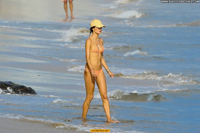 Alessandra Ambrosio The Beach In Malibu  Posing Hot Malibu Bikini