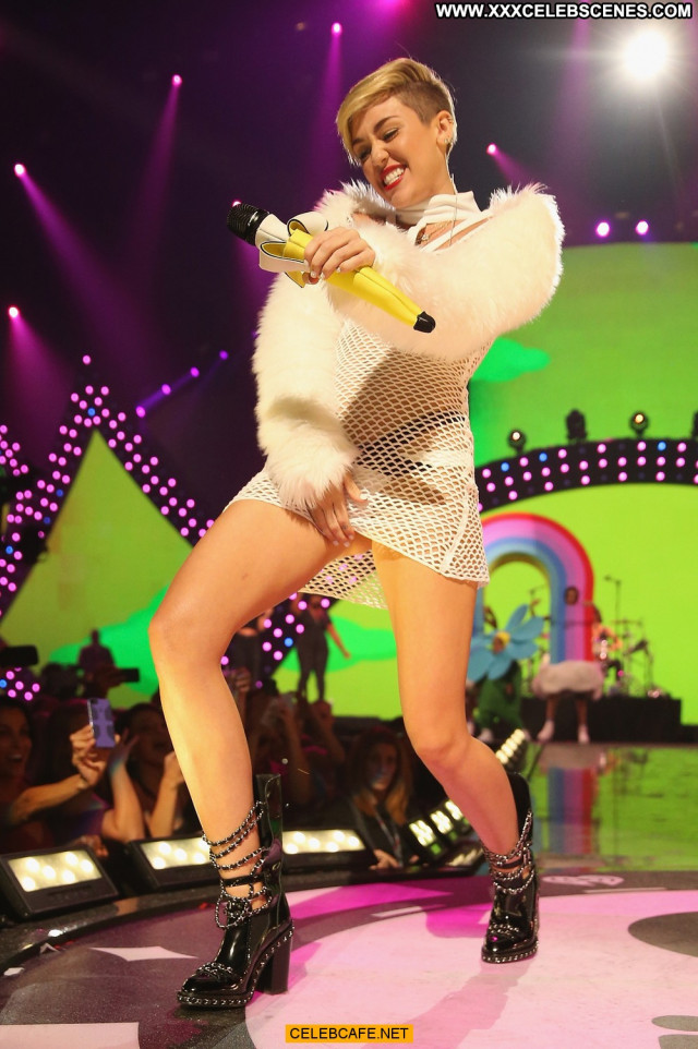 Miley Cyrus No Source Celebrity Babe Beautiful Fishnet Posing Hot Bra