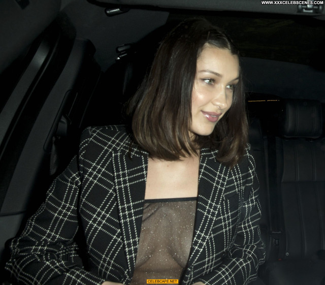 Bella Hadid No Source  Babe See Through Celebrity Bra Posing Hot